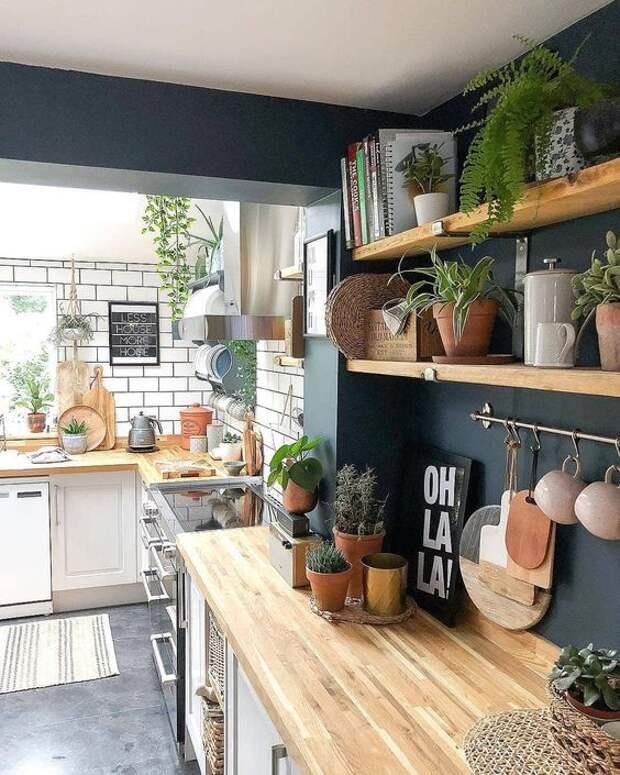 Полки на кухне вместо шкафов в интерьере