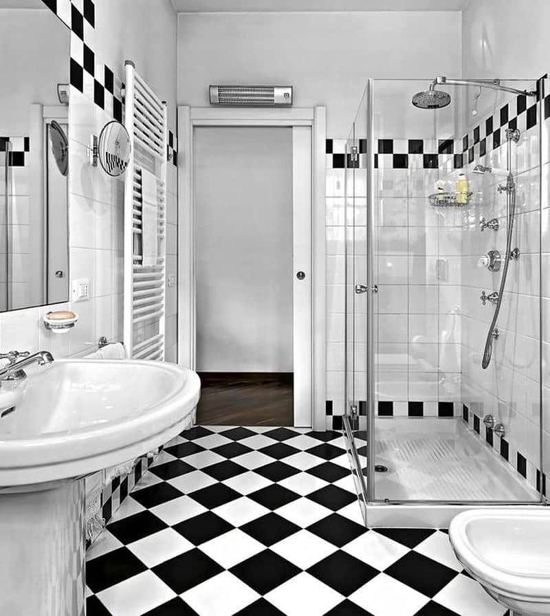 Черно-белая ванная комната - фото лучших идей вариантов дизайна