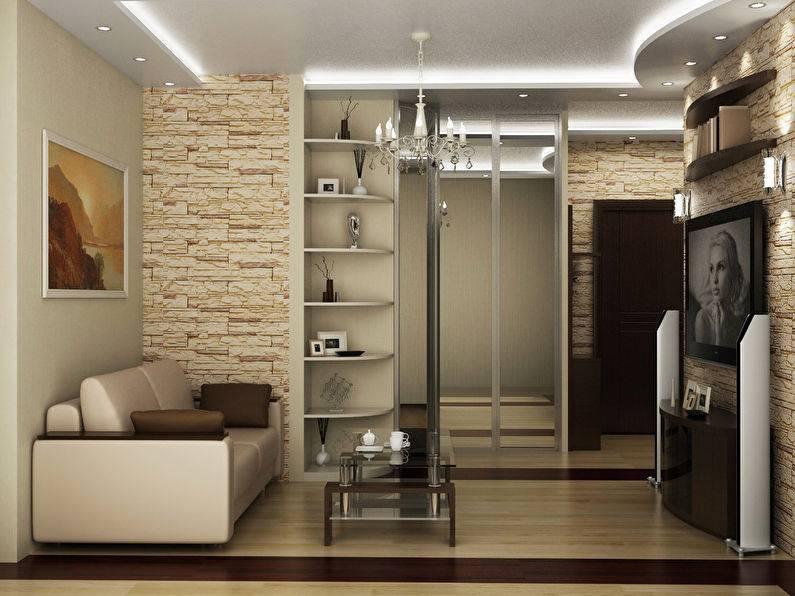 Прихожая совмещенная с гостиной: примеры дизайна - «интерьер гостиной»