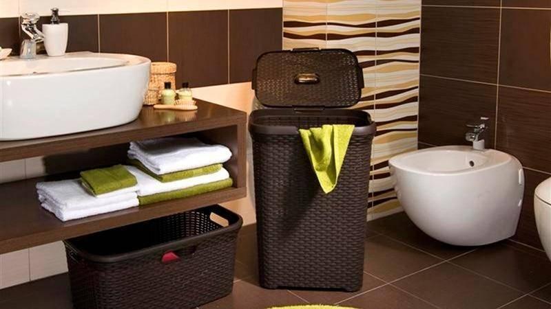 Корзина для белья в ванной: варианты и идеи | домфронт