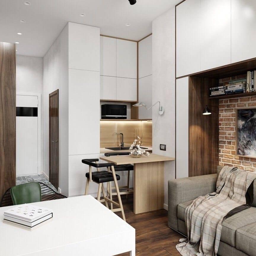 Дизайн кухни-студии площадью 20 кв. м