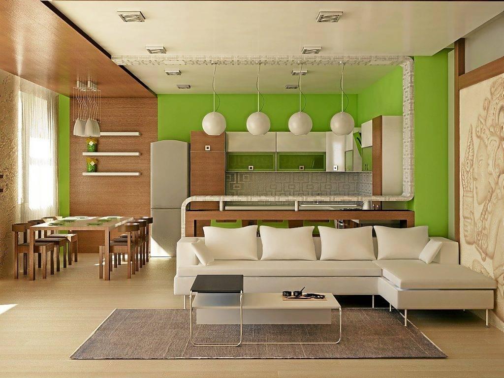 Варианты зонирования кухонного помещения и гостиной