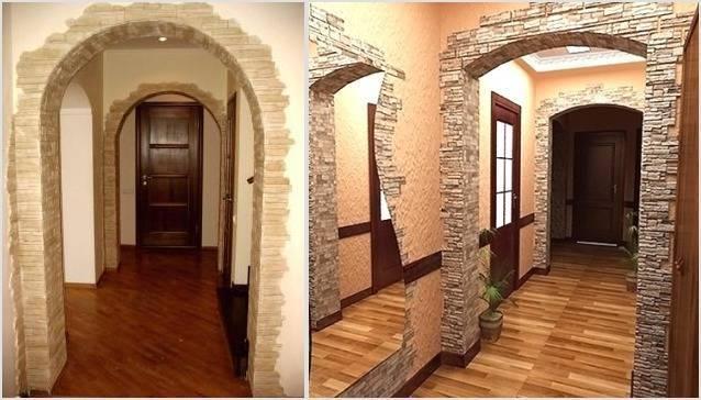 Отделка искусственным камнем дверного проема: технология облицовки двери (фото, видео)