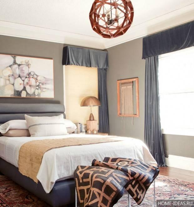 Коричневая спальня: 75 примеров дизайна