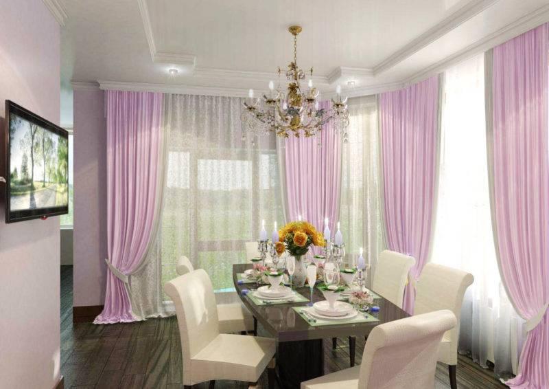Фиолетовые шторы - 50 фото идей красивого сочетания в интерьере