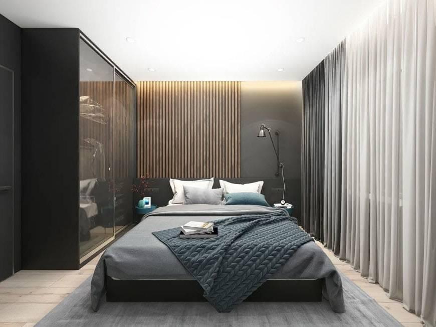 Вариации дизайна спальни для мужчин с фото