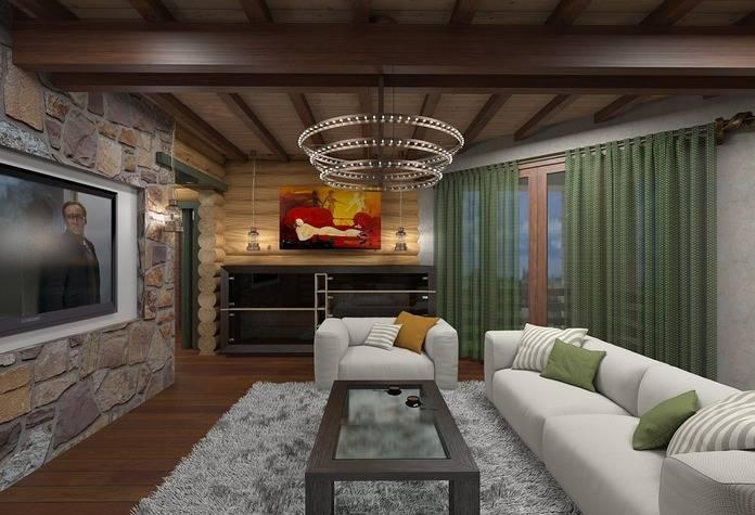 Интерьер гостиной в деревянном доме - идеи для оформления