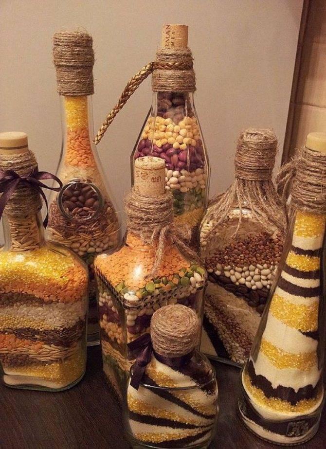 Как сделать декор бутылок своими руками разными способами?
