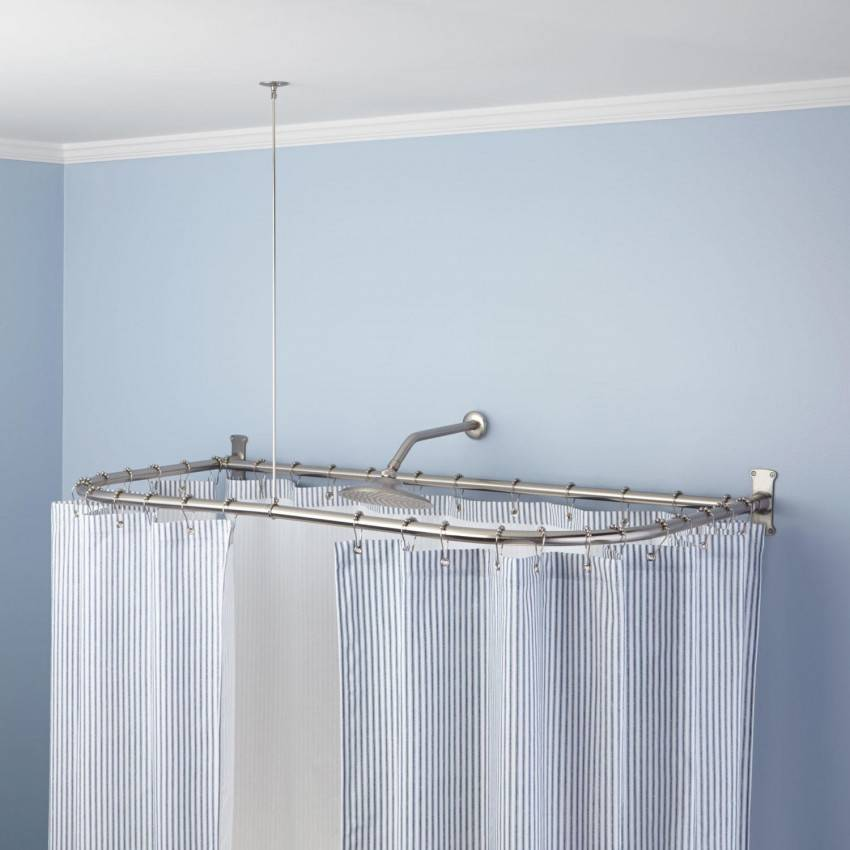 Г-образный карниз для угловой и асимметричной ванны (фото и видео)