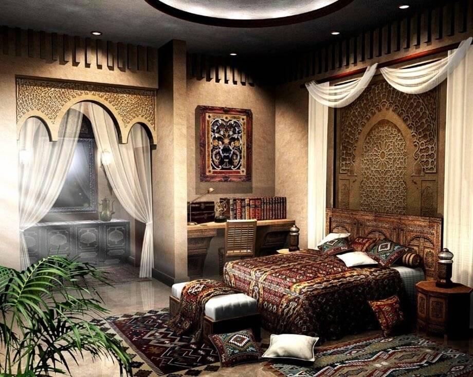 Восточный стиль в интерьере (94 фото): мебель для комнаты в арабском стиле, декор стен и дизайн, оформление потолка и выбор обоев