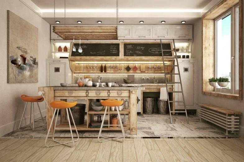 Кухня в стиле лофт в квартире и частном доме — оригинальное решение