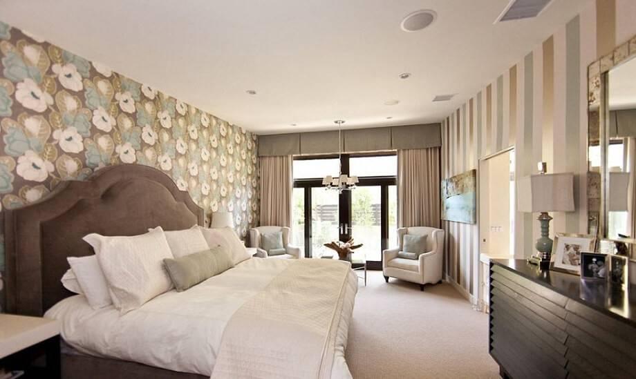 Комбинирование обоев в спальне (90 фото) - красивые идеи для интерьеров, советы