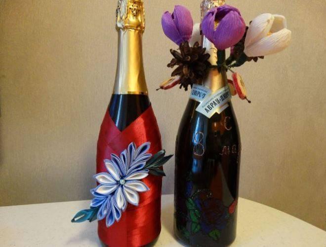 Как украсить бутылку шампанского (25 фото декора)