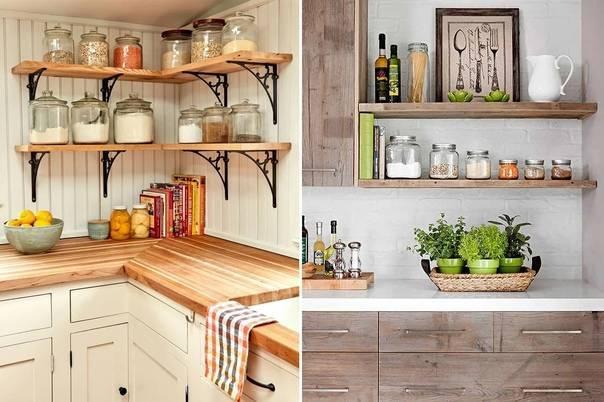 Открытые полки на кухне (22 фото): выбираем настенные навесные полочки для кухни, их достоинства и недостатки