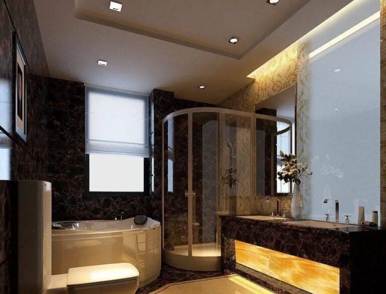 Лучший натяжной потолок в ванной комнате — примеры в интерьерах с лучшим дизайном, подберите интересную идею для себя на фото!