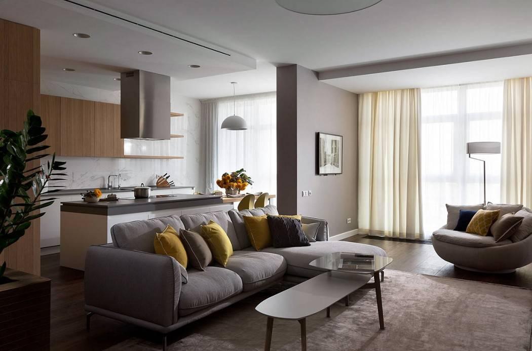 Топ-100 идей дизайнов кухни совмещенной с гостиной