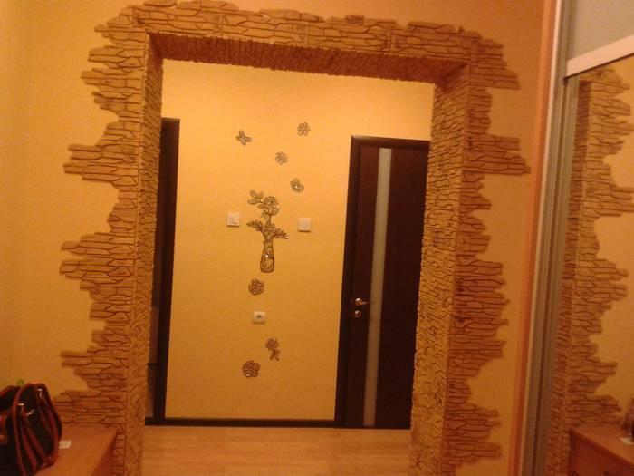 Отделка дверных проемов декоративным камнем – фото и технология