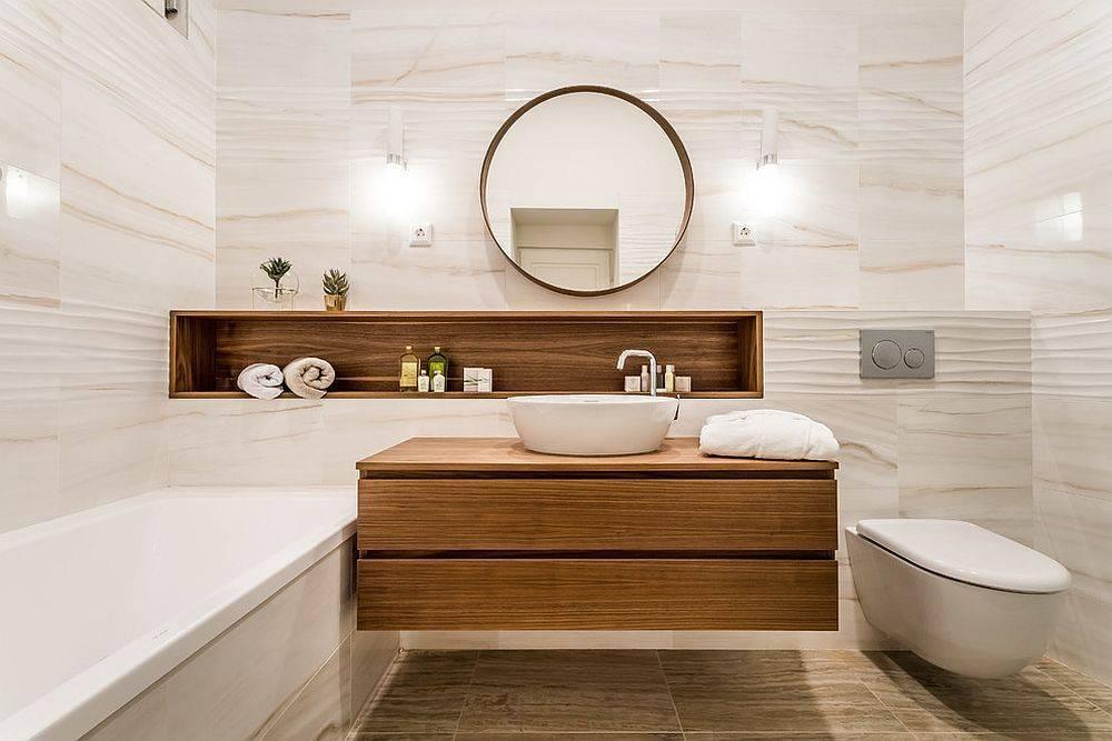 Дизайн ванной комнаты в белом цвете с яркими акцентами