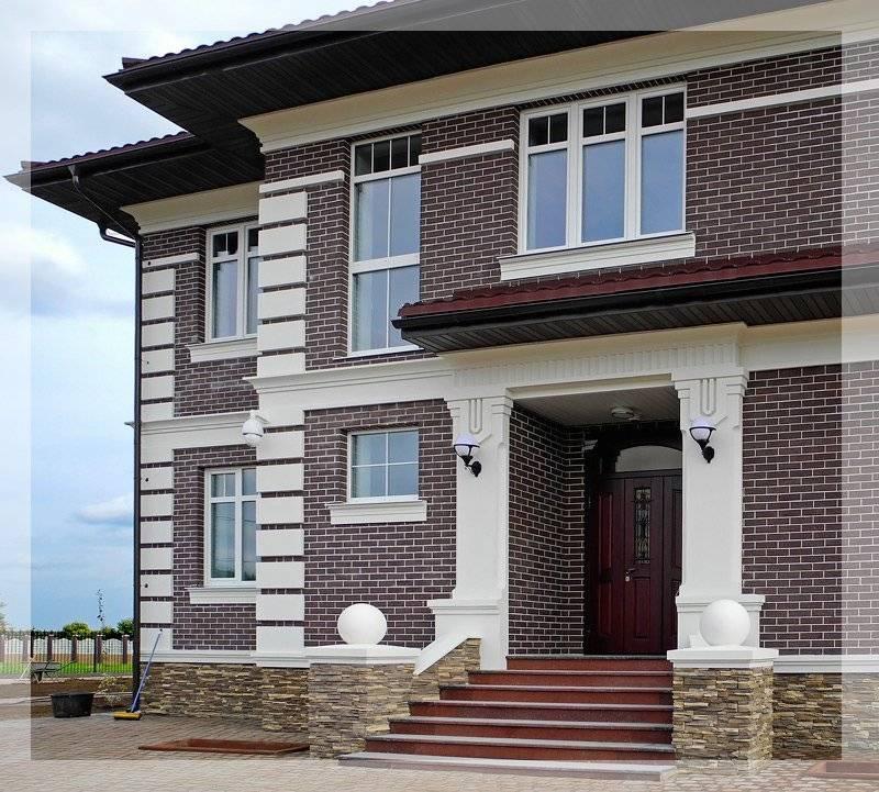 Фасады частных домов из кирпича - 100 фото красивых экстерьеров