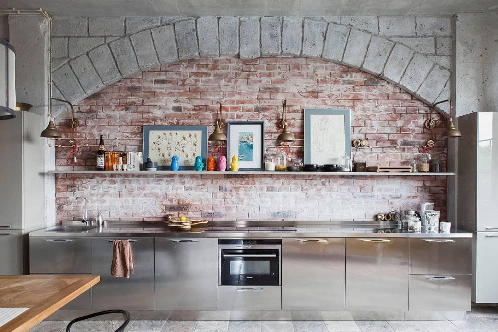 Кирпичная стена в интерьере кухни – 40 примеров удачных сочетаний
