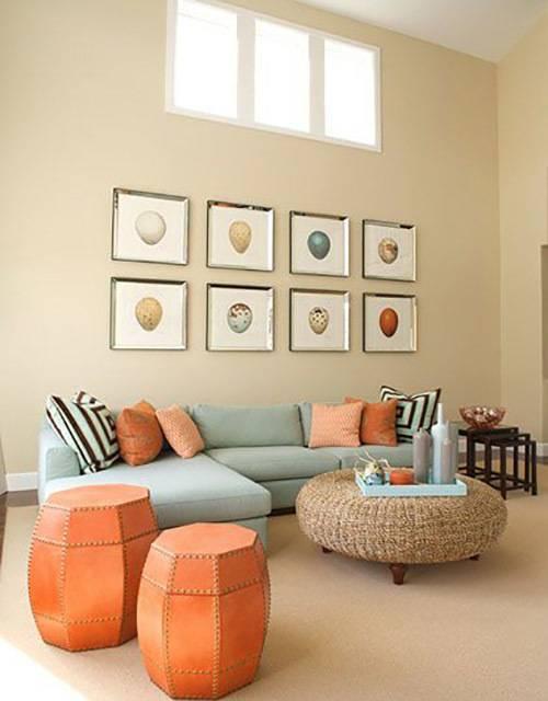 Персиковые обои: 50 фото в интерьере спальни, гостиной, кухни, прихожей, детской