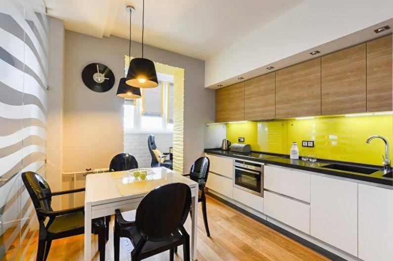 Чёрно-белая кухня в разных дизайнах