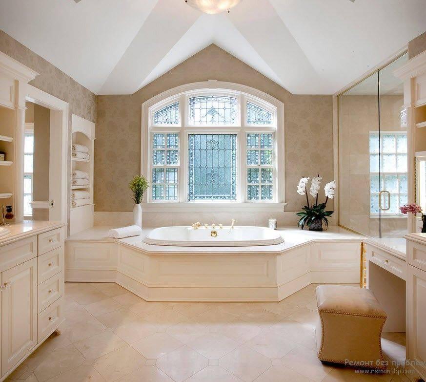 Ванная с окном - 53 фото идей как обыграть окно в ванной