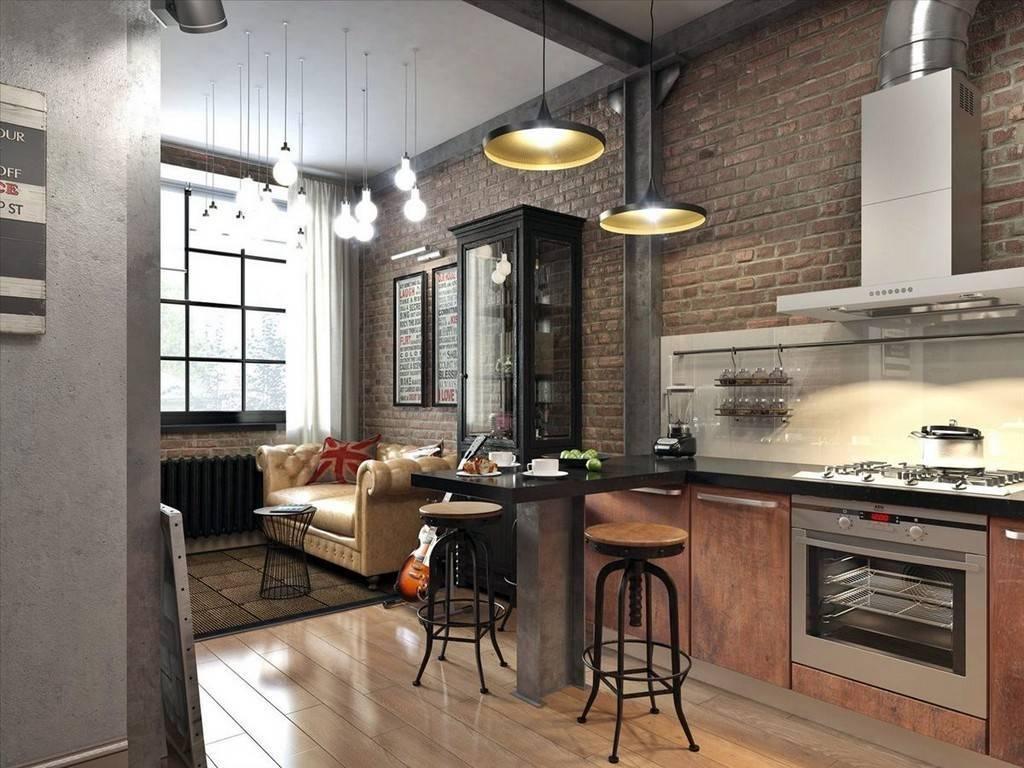 Дизайн кухни в стиле лофт, плюсы и минусы, цветовые решения, фото в интерьере