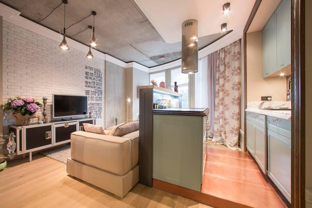 Современный дизайн кухни, совмещенной с гостиной: 35 фото в хрущевке