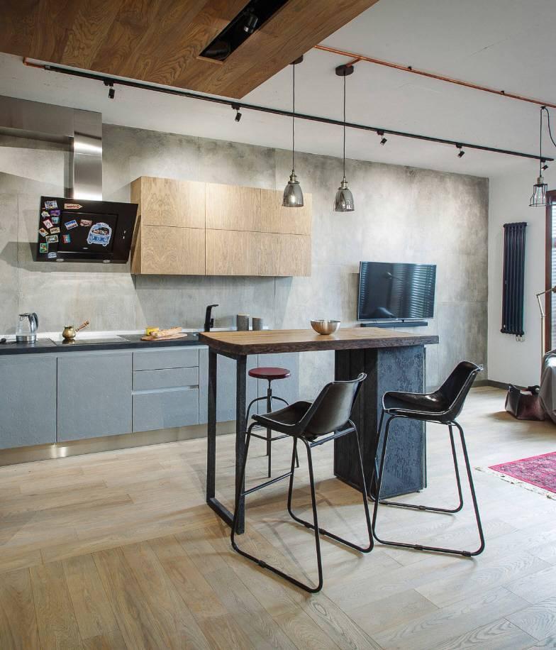 Интерьер кухни и гостиной в стиле лофт в квартире и загородном доме: примеры оформления дизайна, выбор цвета и материала, отделка, фото