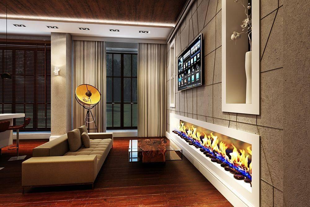 Гостиная с камином и телевизором: 50+ фото в интерьере, красивые идеи дизайна