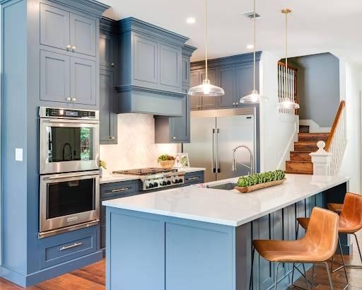 Голубая кухня - идеальное решение уютного дизайна (75 фото новинок)