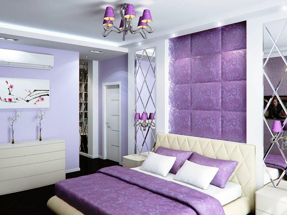 Лавандовый цвет в интерьере спальни, кухни: сочетание на стенах  - 36 фото