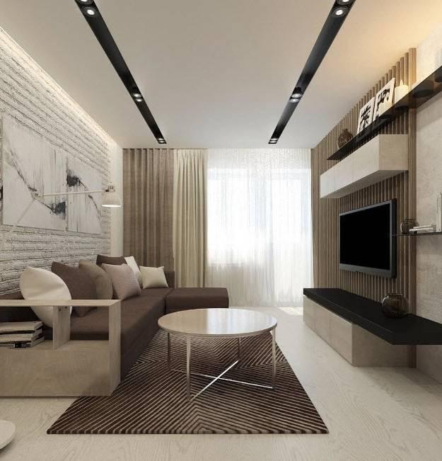Интерьер зала 18 кв.м в квартире - бюджетный вариант