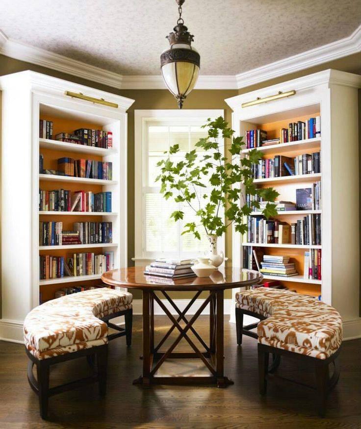 Интерьер домашней библиотеки: как создать ее в гостиной — 60 практичных идей