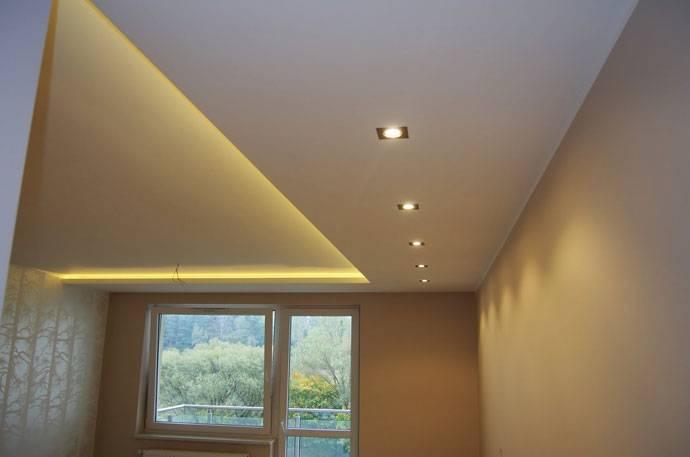 Потолок из гипсокартона с подсветкой - фото различных вариантов