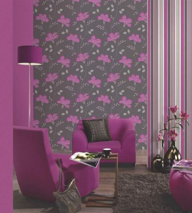 Как правильно подобрать обои двух цветов в зал : фото готовых интерьеров
