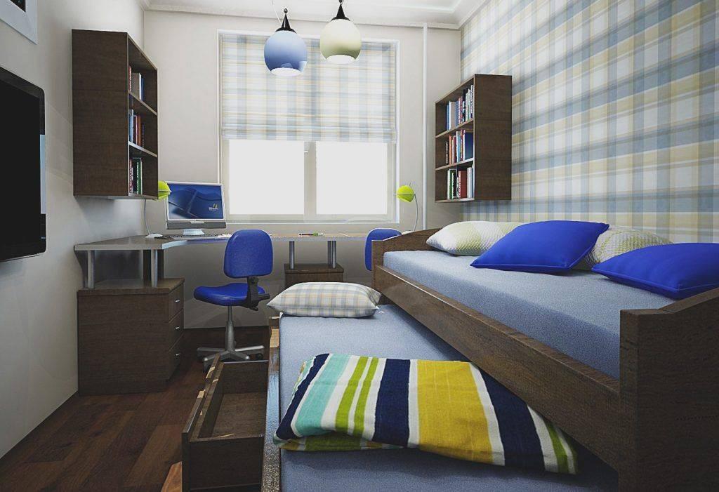 Интерьер узкой длинной комнаты для разнополых детей: фото