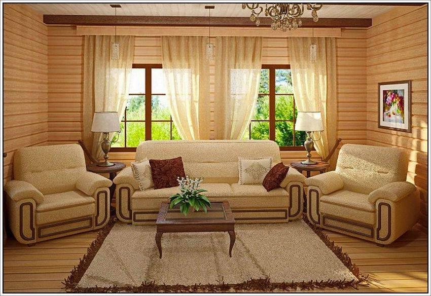 Интерьер гостиной в деревянном доме из бруса, гостиная с камином