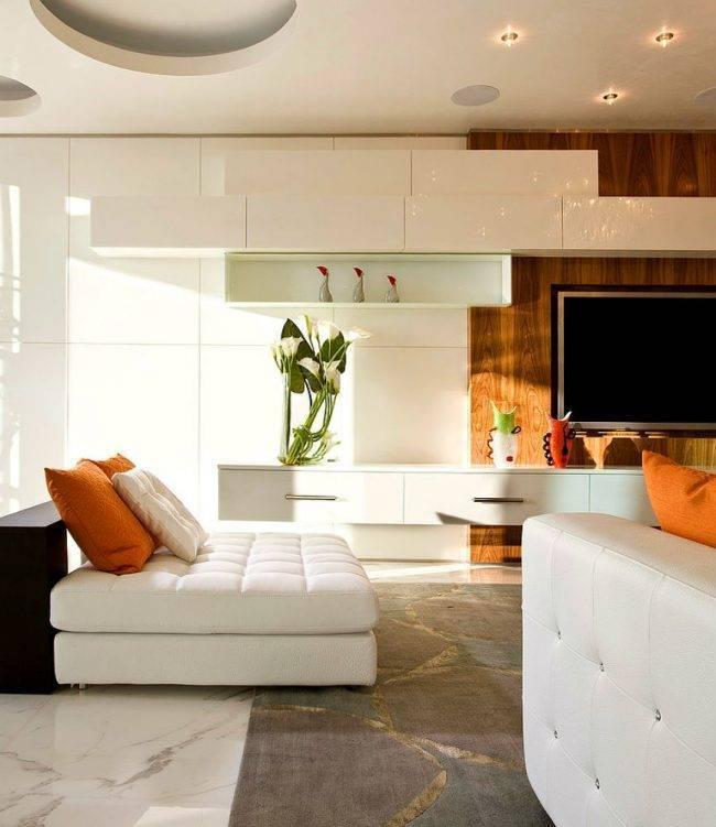 Гостиная в стиле модерн: особенности дизайна, глянцевая мебель в интерьере, как выбрать стенки и диваны, подбор освещения, как совместить с кухней, фото примеры