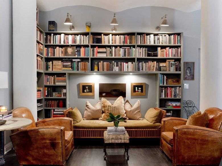 Интерьер домашней библиотеки, дизайн - фото примеров.
