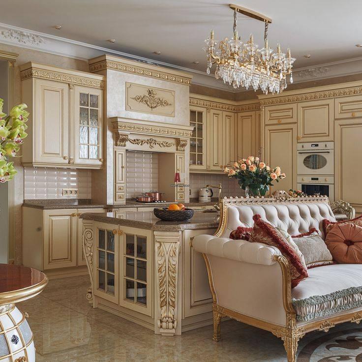 Кухня в классическом стиле (96 фото): дизайн интерьера в стиле классика, кухонный гарнитур с порталом и угловые модели для кухни-гостиной, подходящие обои и плитка для маленькой комнаты