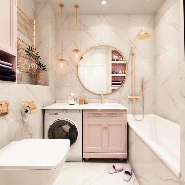 Дизайн маленькой ванной комнаты без туалета со стиральной машиной: идеи  - 38 фото