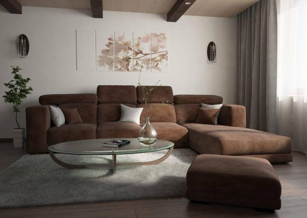 Коричневый диван: идеи стильного оформления интерьера гостиной
