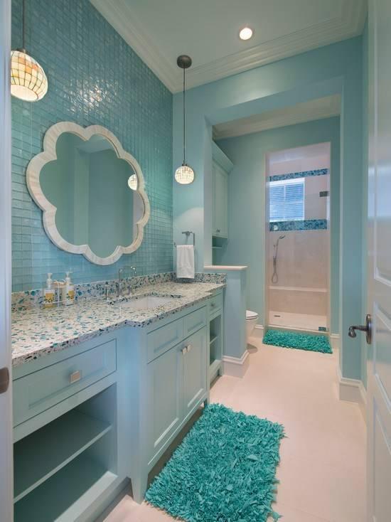 Ванная комната в бирюзовом цвете - украшение современного дома