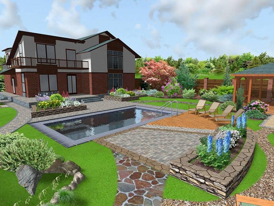 Схемы планировки ландшафтного дизайна на дачном участке площадью 10 соток