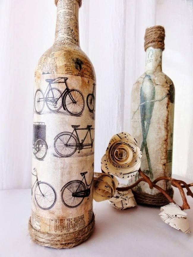 Декор бутылок своими руками - 105 фото стильного оформления для дизайна интерьера
