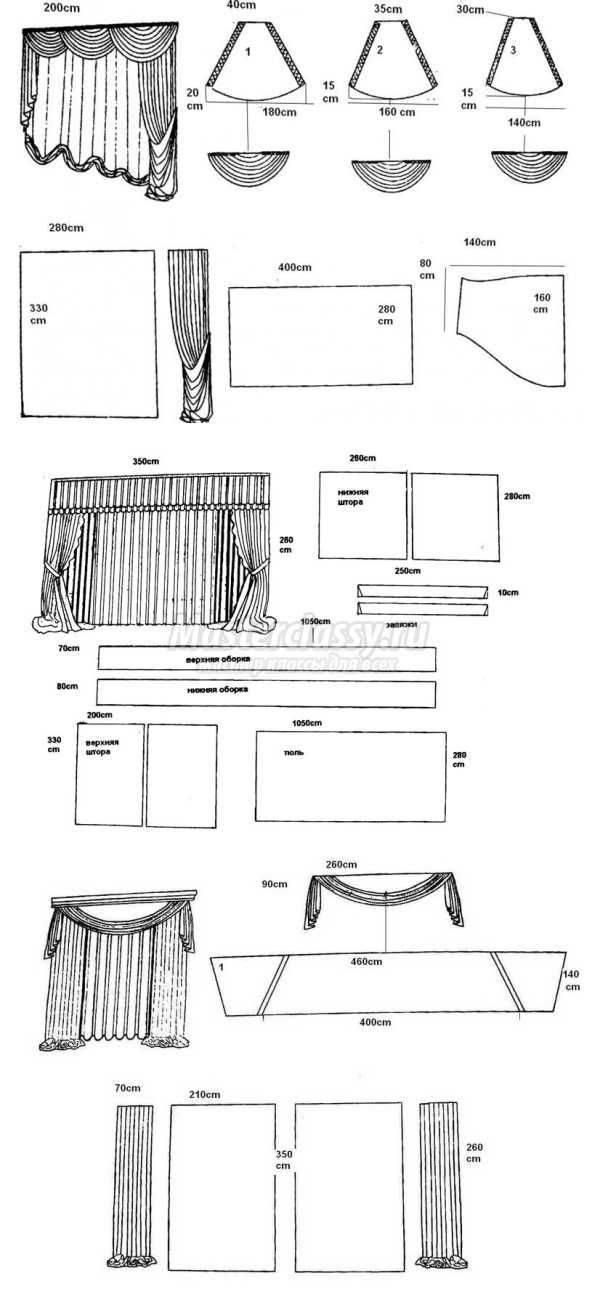 Драпировка штор своими руками: схемы, фото, пошаговая инструкция