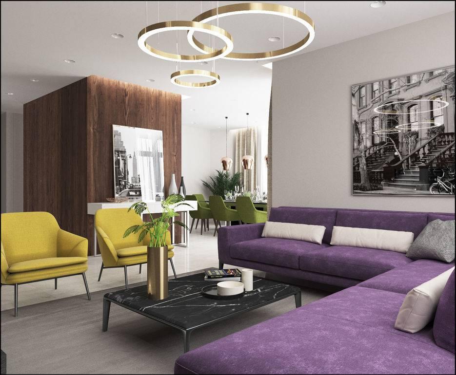 Сиреневая гостиная: 100 фото модных идей дизайна и сочетаний