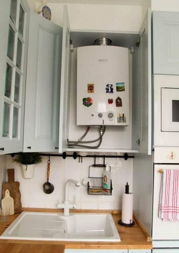 Дизайн кухни в «хрущевке» с газовой колонкой